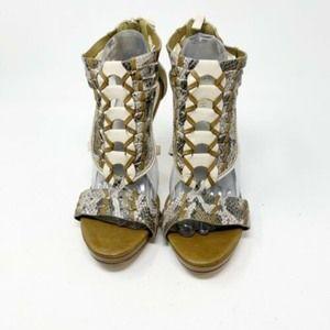 Cole Haan Braided Snake Ski Brown Peep Toe heels
